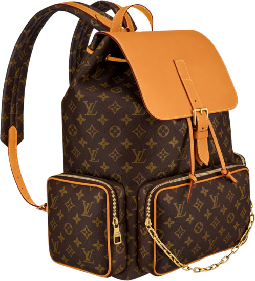 Louis Vuitton Brown Monogram Eclipse Backpack With Tan Flap