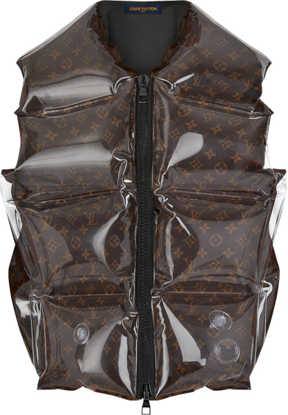 Louis Vuitton Brown Monogram Inflatable Puffer Vest 1a8pf6