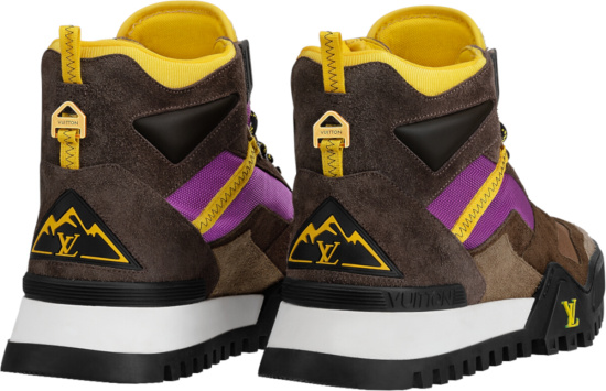 Louis Vuitton Brown Suede Purple And Yellow Hiking Ankle Boots