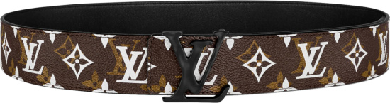 Louis Vuitton Brown With White And Gold Monogram Lv Shape Belt