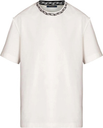 Chain-Collar Jacquard White T-Shirt