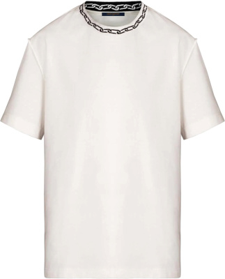 Louis Vuitton Chain Jacquard Collar White T Shirt