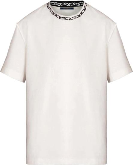Louis Vuitton Chain Jacquard Collar White T Shirt