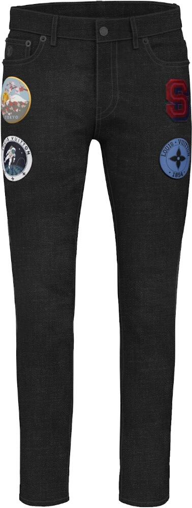 Louis Vuitton Custom Black Patch Jeans