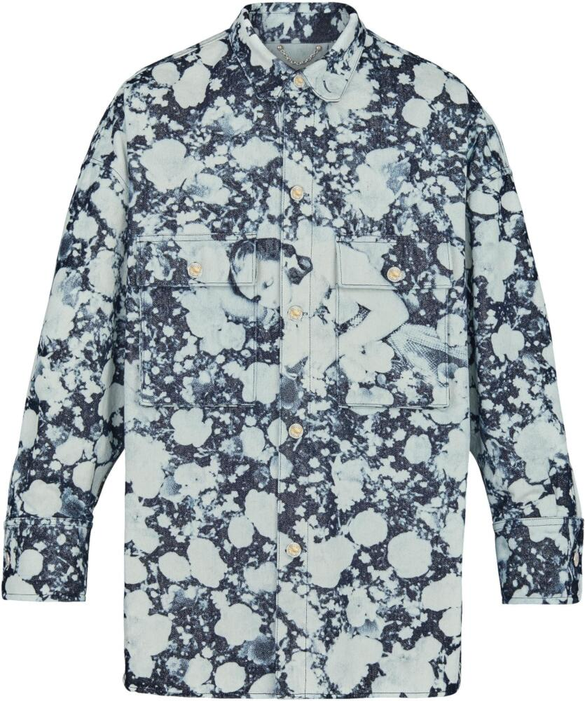 Louis Vuitton Dorthy Poppies Blue And White Oversized Tie Dye Shirt