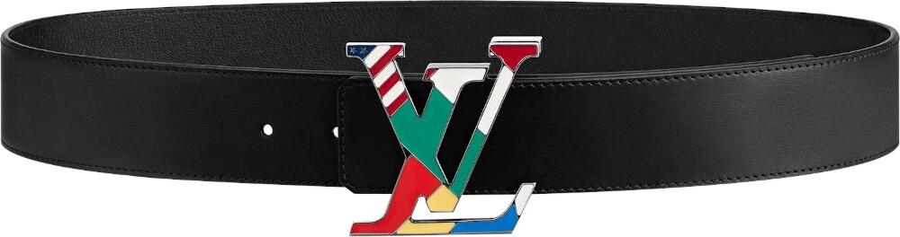 'LV' Flag Buckle Black Belt
