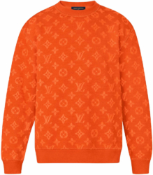 Louis Vuitton Full Monogram Jacquard Orange Crewneck Sweatshirt Worn By Lil Uzi Vert