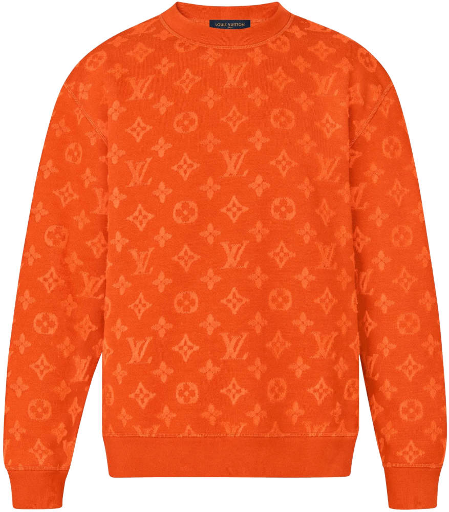 Louis Vuitton Full Monogram Jacquard Orange Crewneck Sweatshirt Worn By Lil Uzi Vert