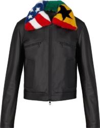 Louis Vuitton Fur Flag Collar Black Leather Jacket