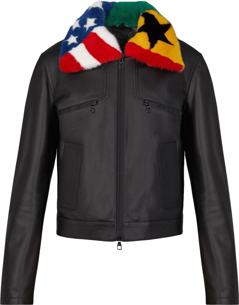 Louis Vuitton Fur Flag Collar Black Leather Jacket
