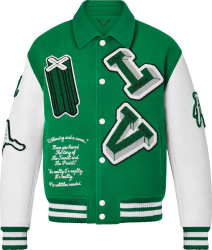 Louis Vuitton Green And White Logo Patch Varsity Jacket
