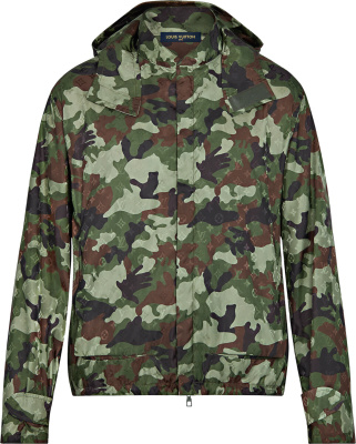 Louis Vuitton Green Black Brown Camouflage Windbreakers