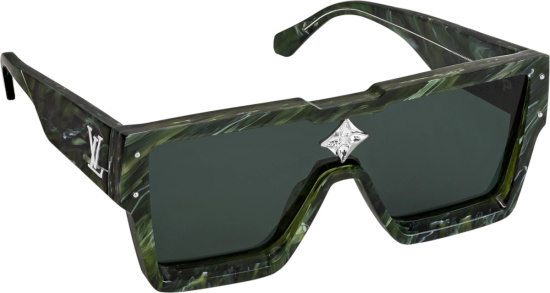 Louis Vuitton Green Marble Large Square Cyclone Sunglasses