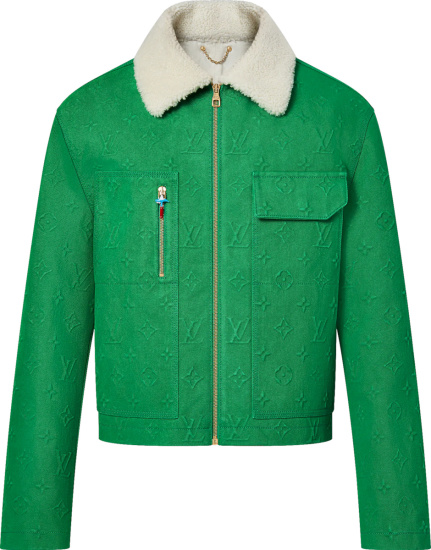 Louis Vuitton Green Monogram Denim And Shearling Collar Workwear Jacket 1a96ue