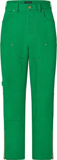 Louis Vuitton Green Monogram Work Wear Jeans