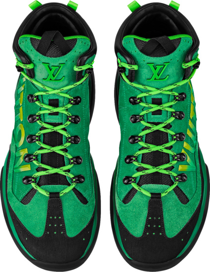 Louis Vuitton Green Suede Logo Millenium Ankle Boots