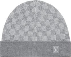 Louis Vuitton Grey Damier Check Beanie