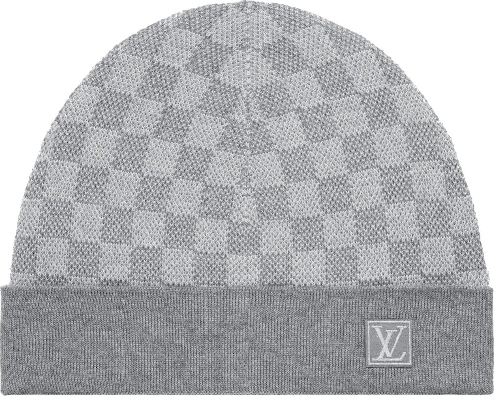 Louis Vuitton Grey Damier Check Beanie