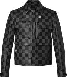 Louis Vuitton Grey Damier Leather Jacket 1a9a0w