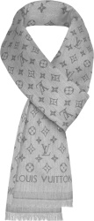 Louis Vuitton Grey Flower Monogram Frayed Stole