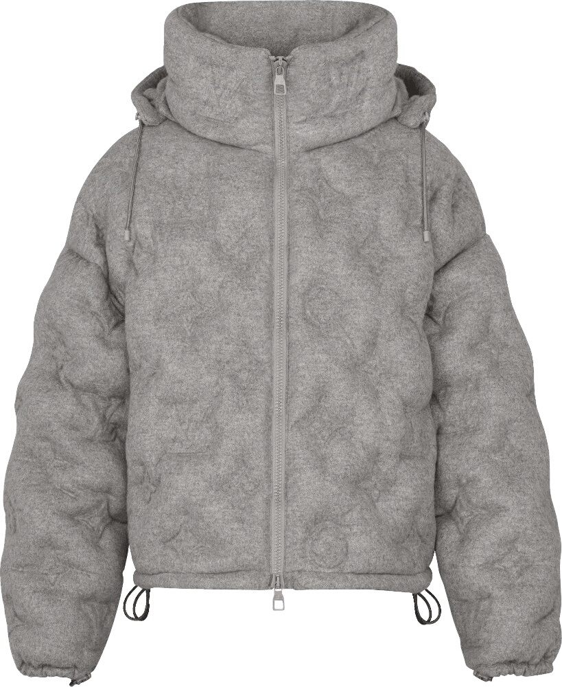 Allover Monogram Grey Puffer Jacket
