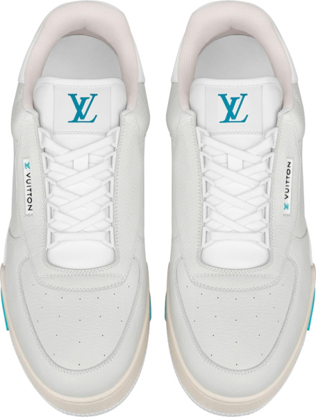 Louis Vuitton Ivory White Blue Lv Trainer Sneakers