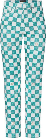 Louis Vuitton Light Blue And White Damier Denim Jeans 1a9a1q