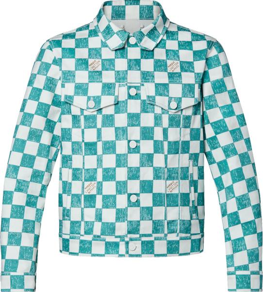 Louis Vuitton Light Blue And White Damier Denim Trucker Jacket