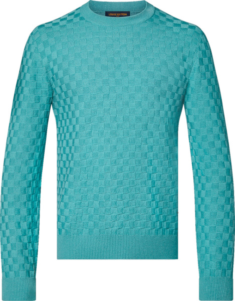 Louis Vuitton Light Blue Damier Crewneck Sweater 1a9a0p