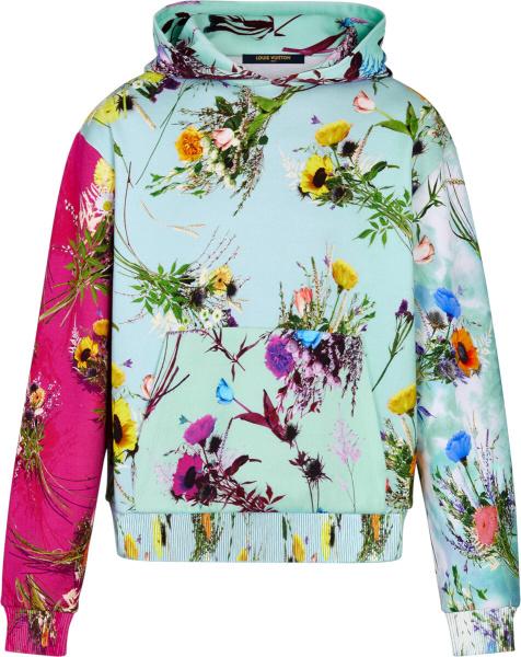 Louis Vuitton Light Blue Floral Print Hoodie