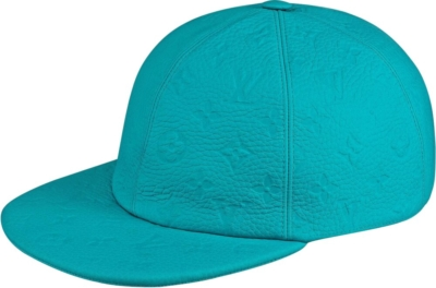 Louis Vuitton Light Blue Monogram Embossed Leather Hat
