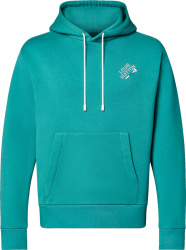 Louis Vuitton Light Blue Teal Signature Logo Embroidered Hoodie