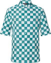Louis Vuitton Light Teal Blue And White Damier Shirt