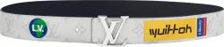 Louis Vuitton Logo Print White Leather Belt