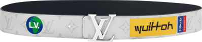 Louis Vuitton Logo Print White Leather Belt
