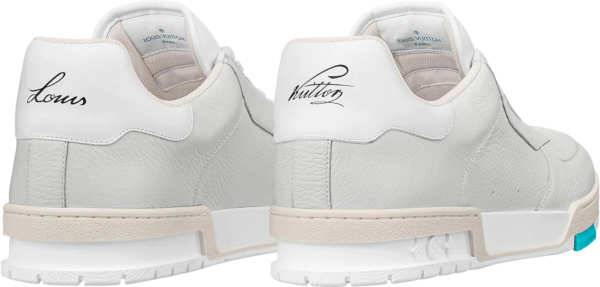 Louis Vuitton Low Top White Blue Lv Trainer Sneakers