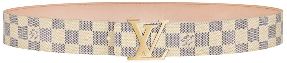 Louis Vuitton Lv Initiales Damier White Leather Belt Worn By Blueface