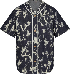 Blue Denim 'LV Leaf' Baseball Shirt