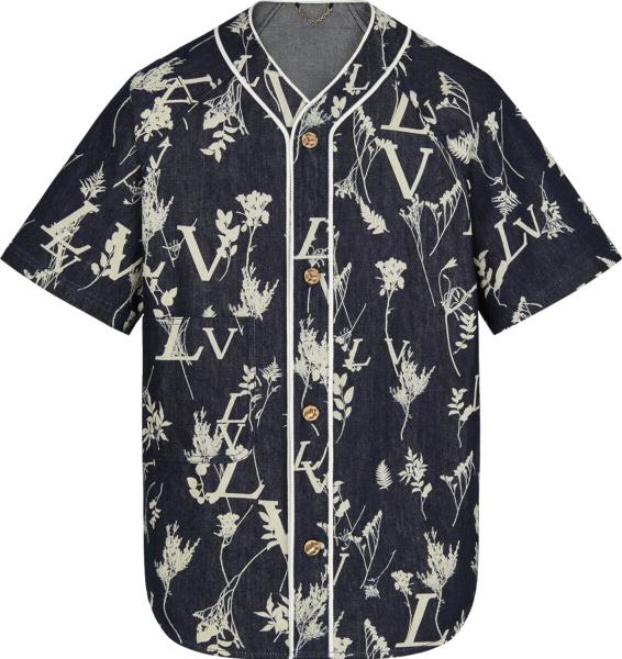 Louis Vuitton Lv Leaf Print Blue Denim Baseball Shirt