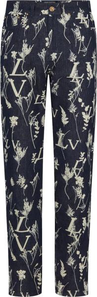 Louis Vuitton Lv Leaf Print Blue Denim Pants