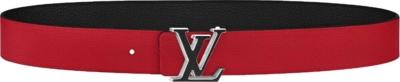 Louis Vuitton 'lv Tilt' Buckle Red Leather Belt