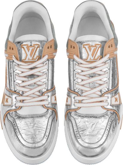 Louis Vuitton Metallic And Beige Low Top Lv Trainer Sneakers
