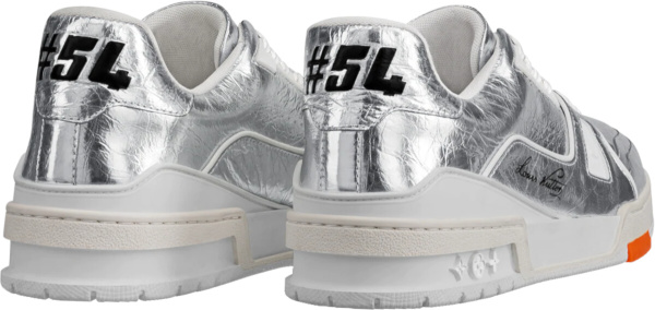 Louis Vuitton Metallic Silver Trainer Sneakers