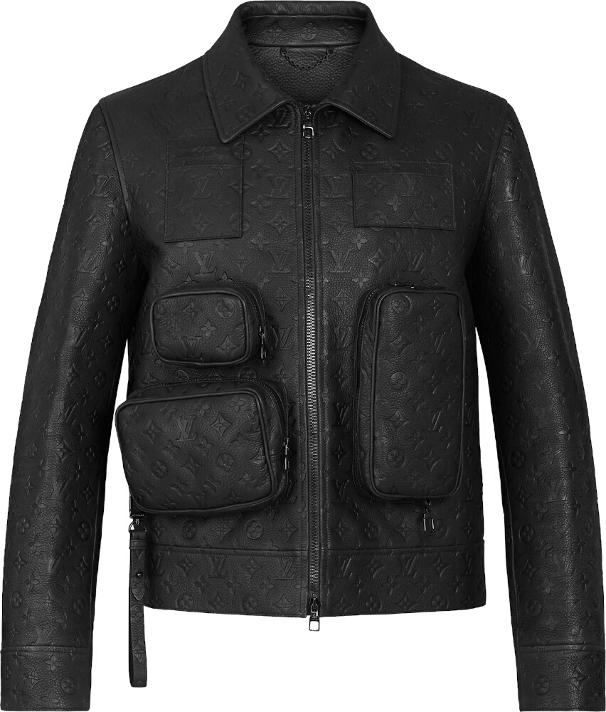 Louis Vuitton Monogram Embosses Black Leather Jacket