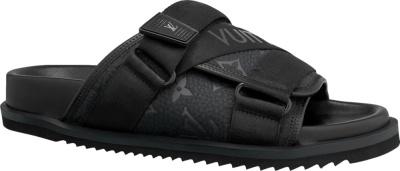 Louis Vuitton Monogram Print Black Sandals