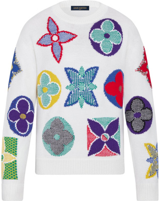 Louis Vuitton Multicolor Monogram White Sweater