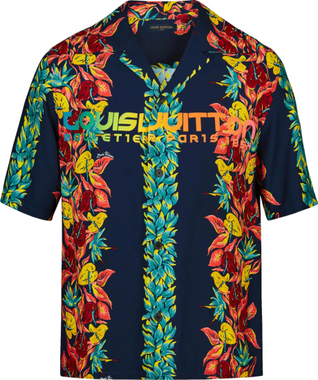 Louis Vuitton Navy And Multicolor Floral Hawaiian Shirt