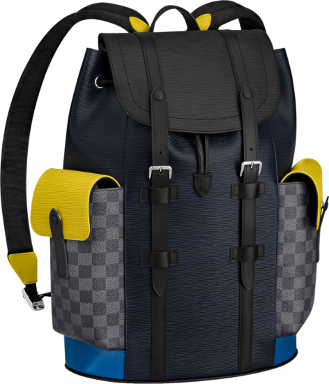 Louis Vuitton Navy Black Yellow Check Backpack