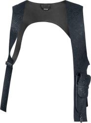 Louis Vuitton Navy Blue Monogram Leather Mid Layer Vest 1a5vul