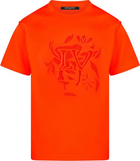 Louis Vuitton Neon Orange Vegetal Lace T Shirt